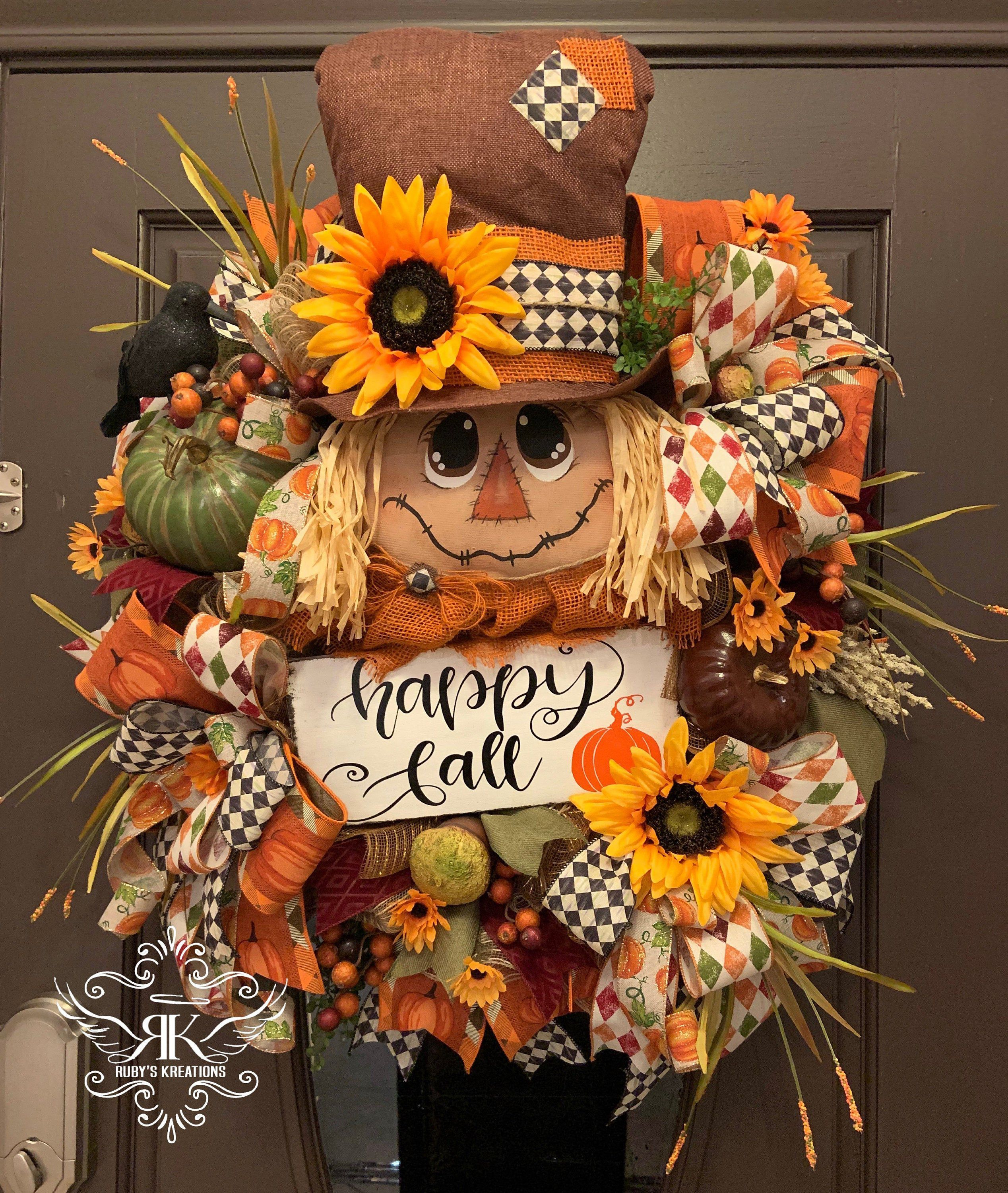 McKenzie Childs Wreath, Fall Wreath, Fall Swag, Scarecrow Wreath, Front Door Wreath, Door Decor, Fall Decor #scarecrowwreath Excited to share this item from my #etsy shop: McKenzie Childs Wreath, Fall Wreath, Fall Swag, Scarecrow Wreath, Front Door Wreath, Door Decor, Fall Decor #scarecrowwreath