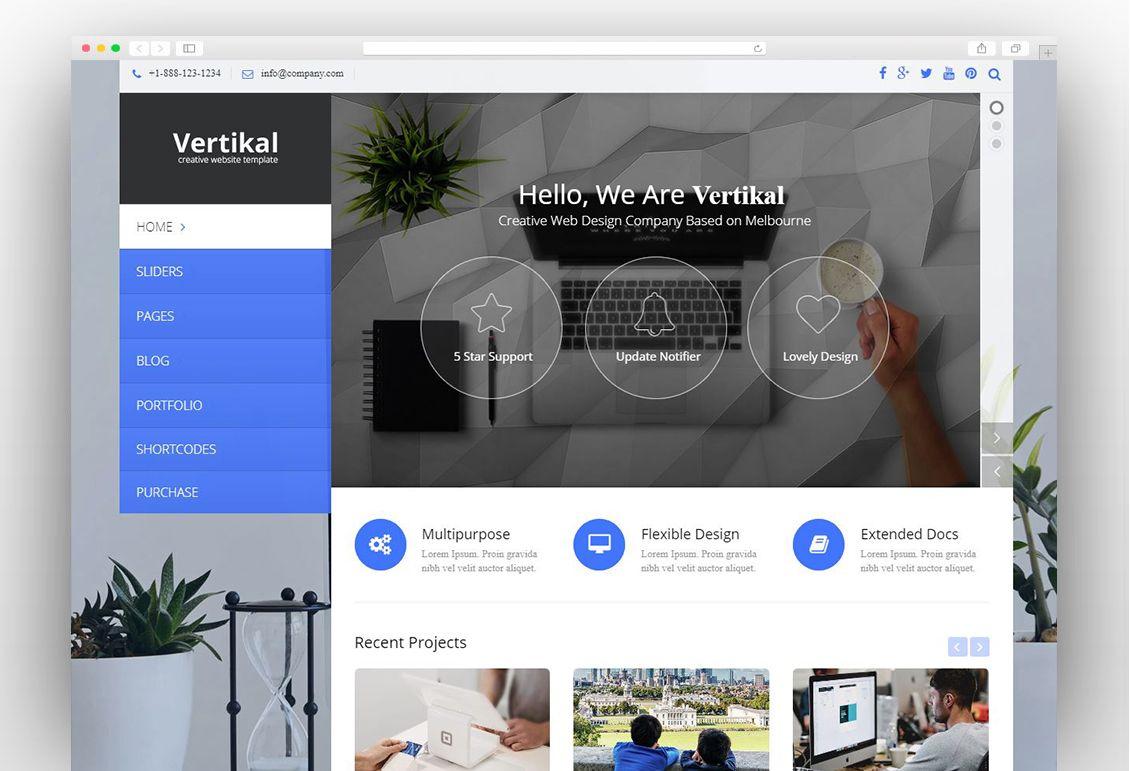 Vertikal Responsive Wordpress Theme In 2020 Wordpress Theme Responsive Wordpress Theme Creative Web Design