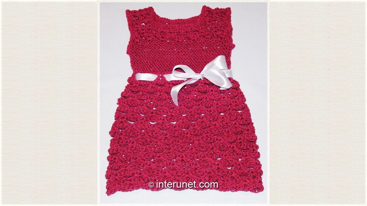 Crochet toddlers\' dress using V stitch shell pattern | crochet ...