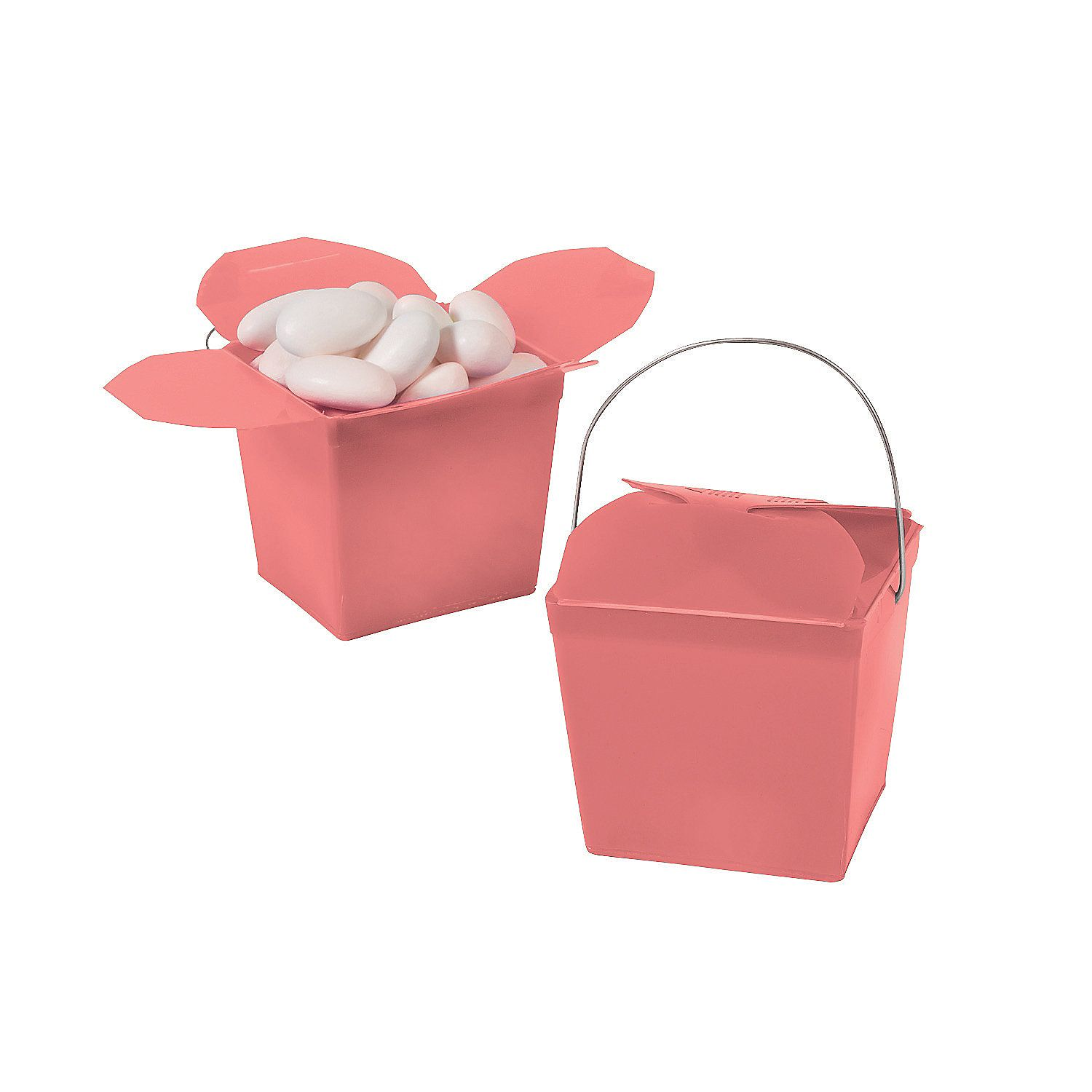 Mini Coral Takeout Boxes | Floral centerpieces, Favours and Shower ...