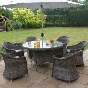 Maze Rattan Victoria 6 Seat Round Garden Furniture Set Grey | Garden ...