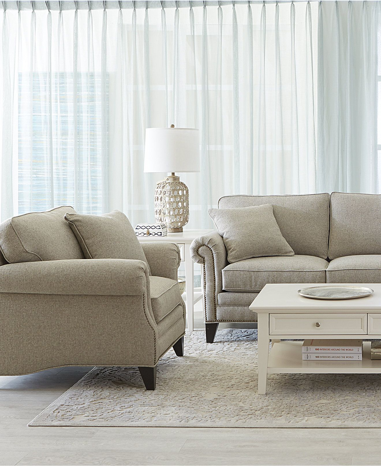 Kenton Fabric Sofa Parchment Pull Out Bed With Air Mattress Scarlette Living Room Furniture
