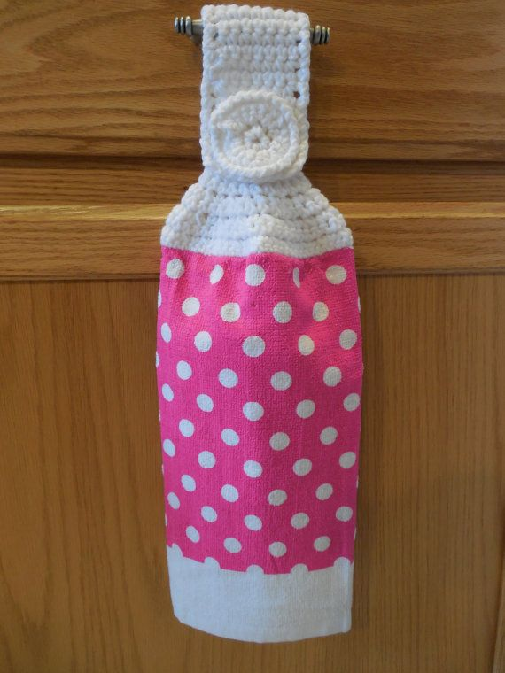 Hanging Towel Topper - Hot Pink With White Polka Dots - Handmade ...