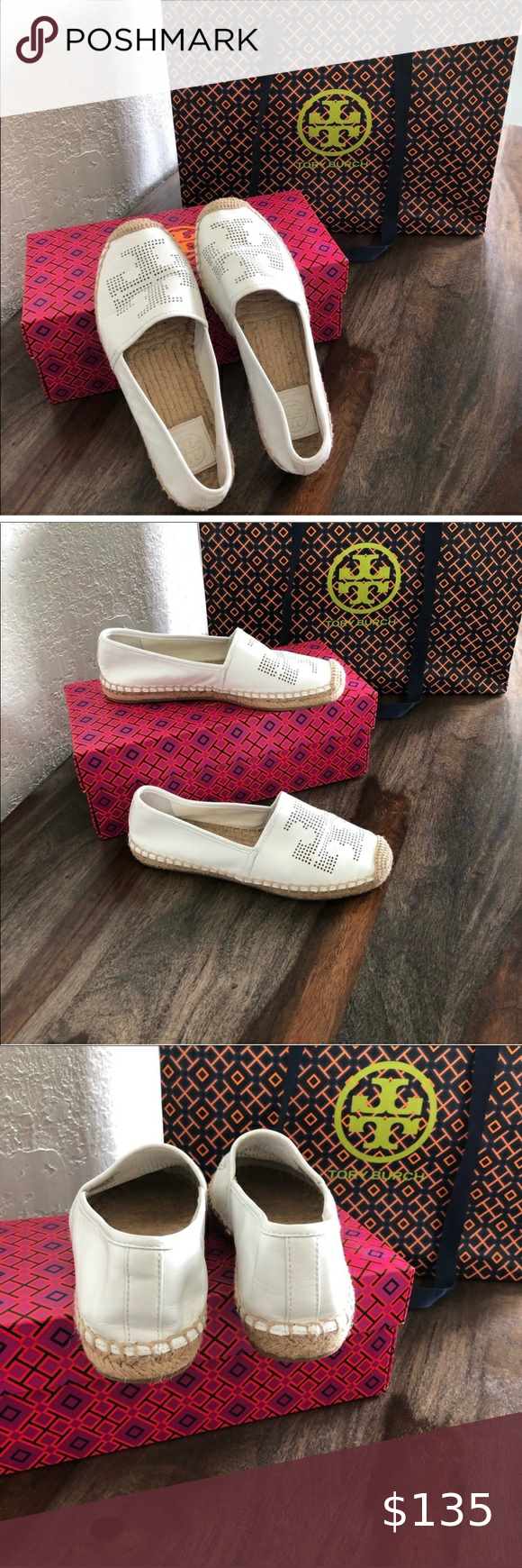Tory Burch white leather espadrilles Tory Burch wh