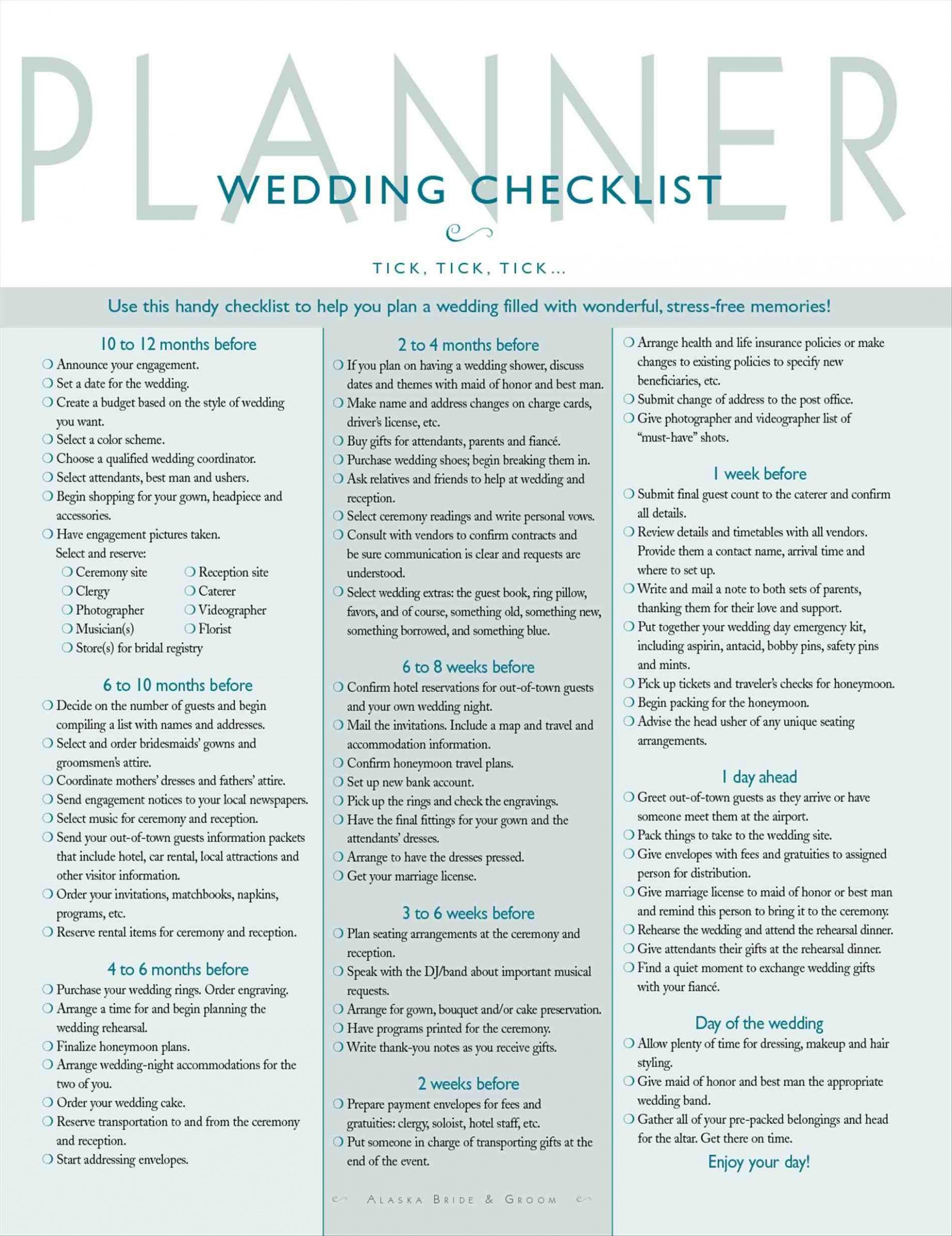 Printable Wedding Checklist The Knot