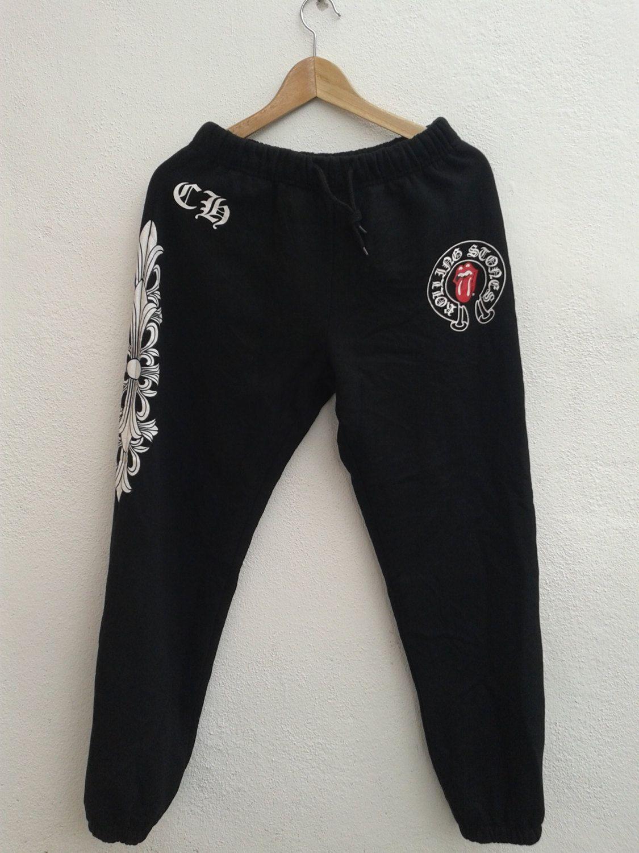 de1379734b3206 Chrome Hearts Black Sweatpants Pant Track and Field Vintage 90s Rocky Cross  Rolling Stone ASAP Trouser Size L by BubaGumpBudu on Etsy
