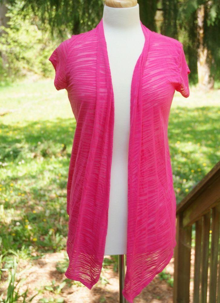 Women's Hot Pink Sheer Sweater Size M Light Weight Spring Summer ...