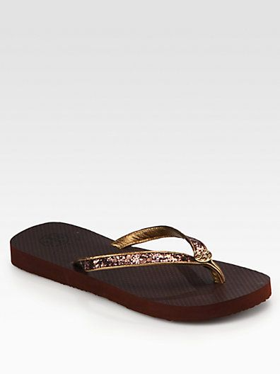 Tory Burch - Aida Glitter Logo Thong Flip Flops - Saks.com/ FOR ME, NEED A SIZE 7