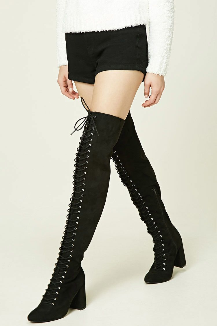 41969632e8 Lace-Up Thigh-High Boots | Forever 21 - 2000232043 | Winter is ...