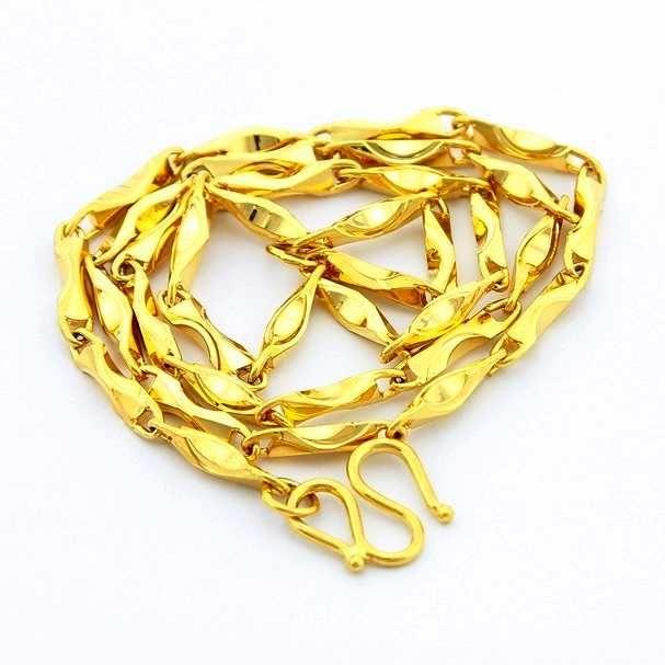 New Beautiful Fashion 24K GP gold Color pendant necklace  46cm necklace chain for men&women gargantilha wedding jewelry #Affiliate