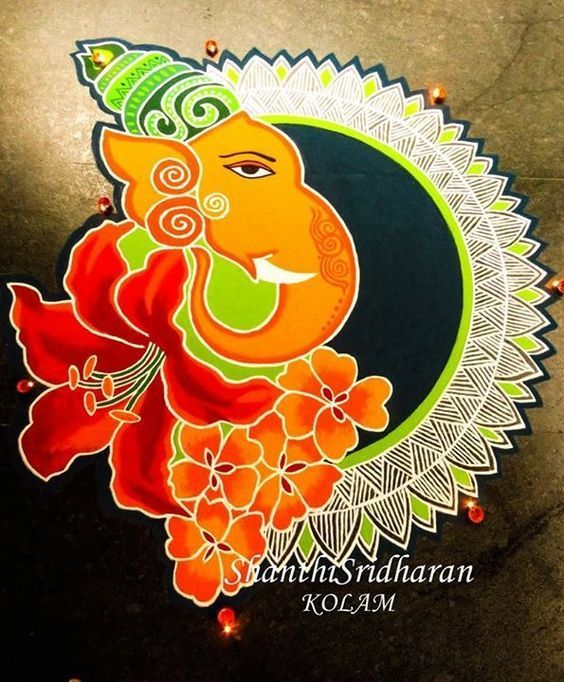 45 Latest Ganesh chaturthi/Vinayagar chaturthi Rangoli designs - Wedandbeyond #rangolidesignsdiwali