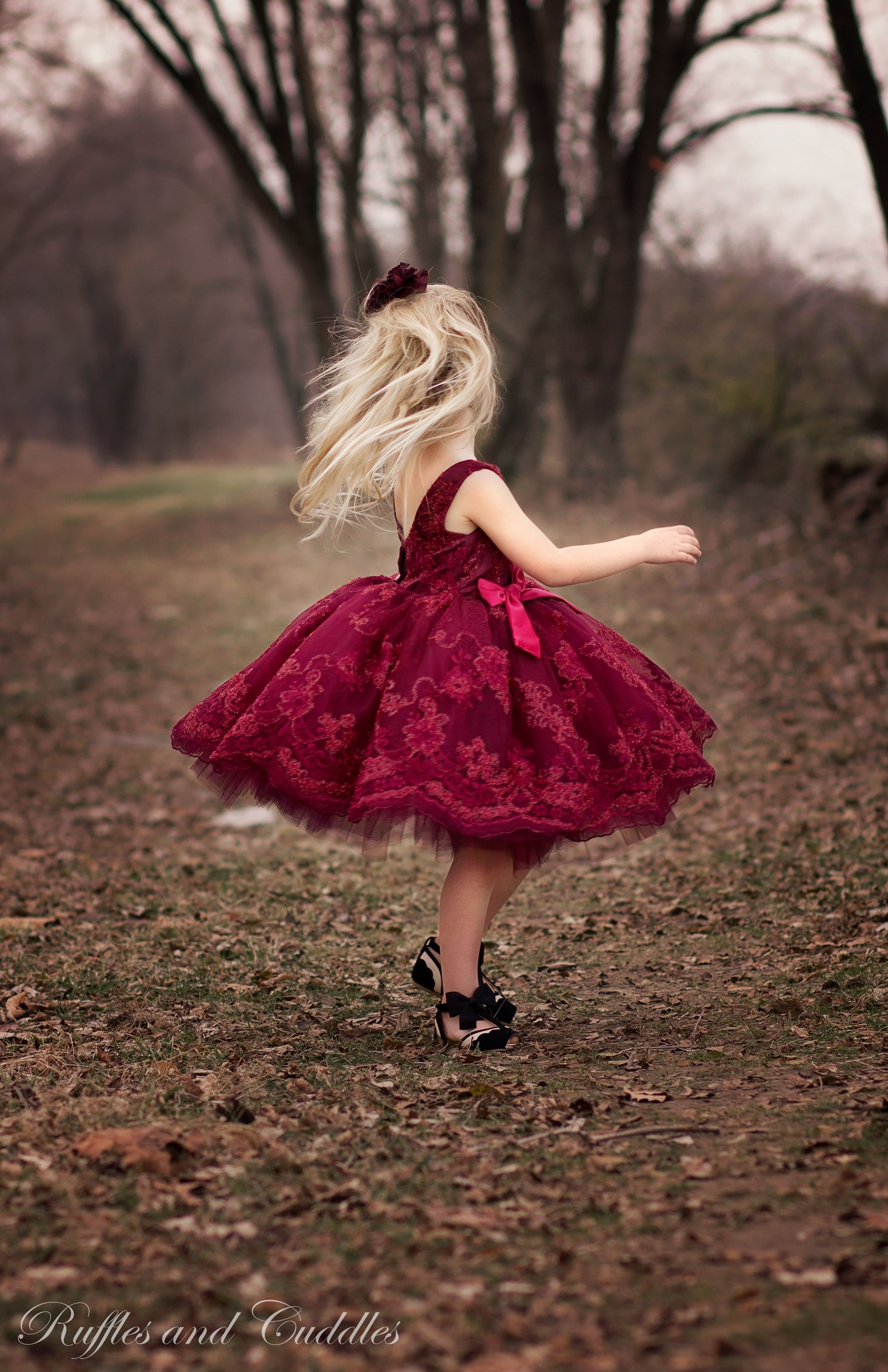 Girls dress fancy flower girl wedding Christmas 2015 Satin, Lace, and tulle in red and wine. Made by Ruffles and Cuddles, pattern by Violette Field Threads. Size 5