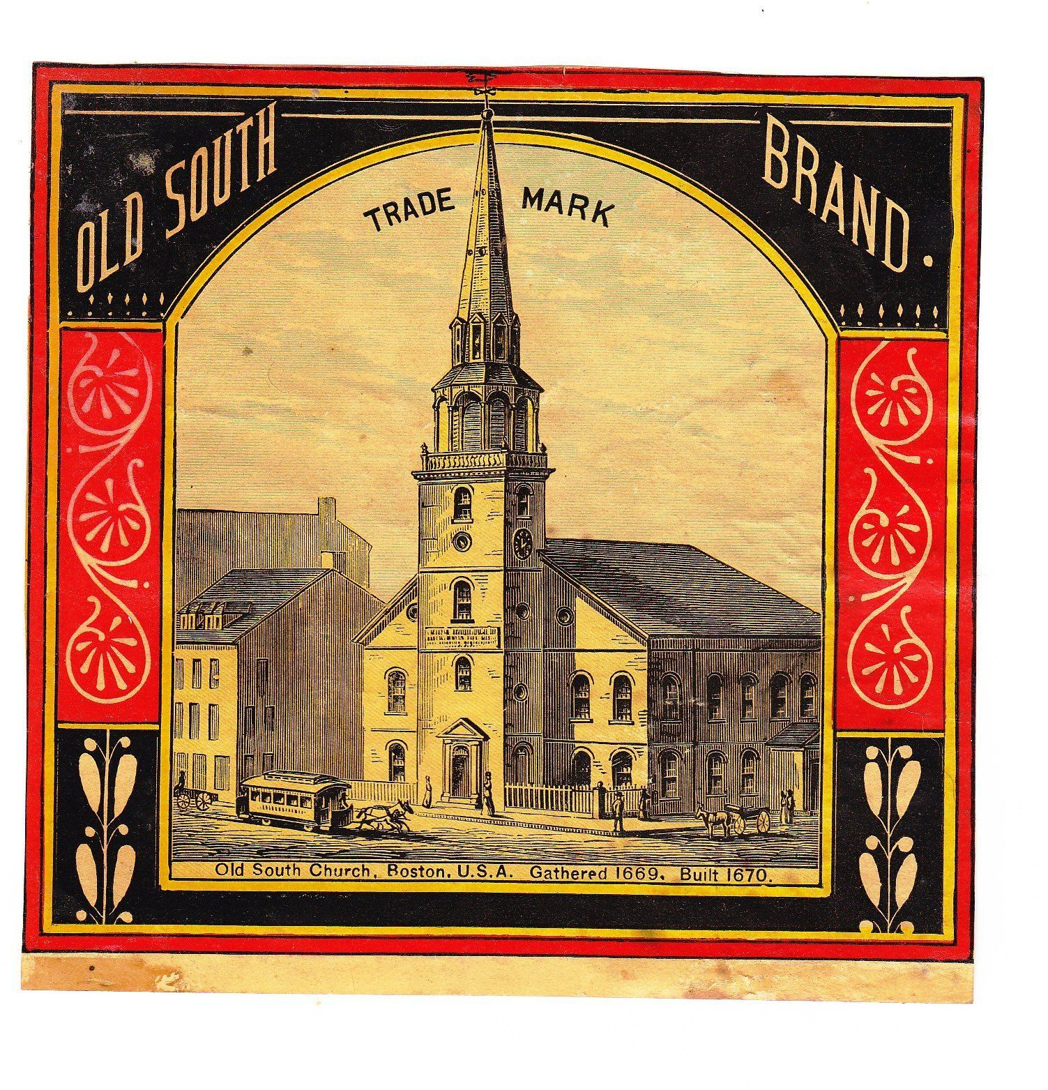 19th Century Baked Beans Can Label Old South Church Boston