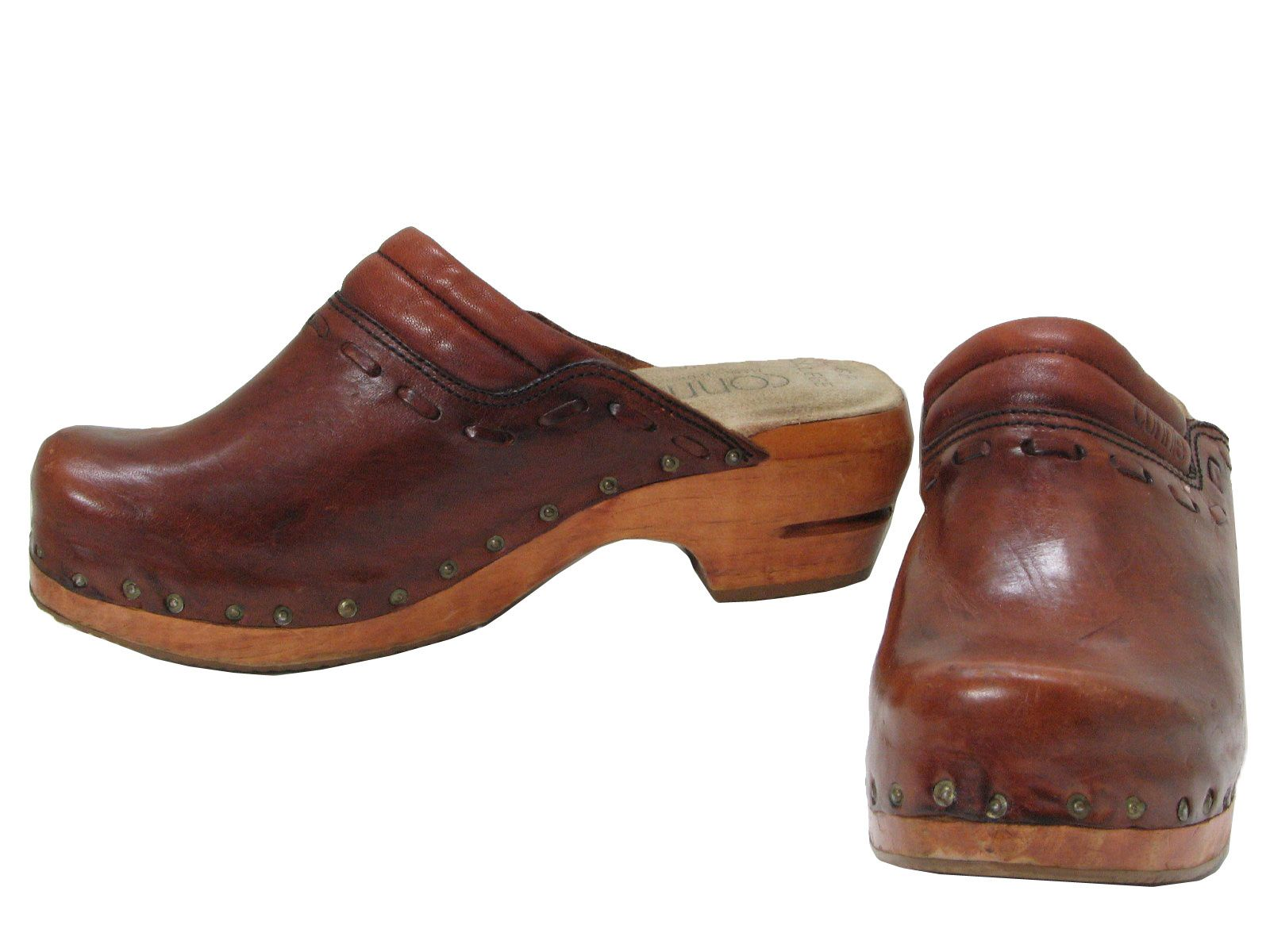 70s -Connie- Womens Brown Smooth Leather And Wooden Soled Clogs With Two Piece Uppers Ribbed ...