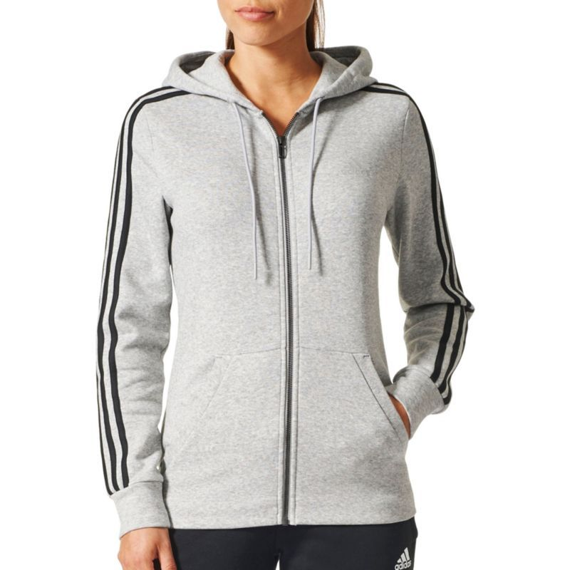48dafa13c adidas Women's Essentials Cotton Fleece 3-Stripes Full Zip Hoodie, Size:  Medium, Gray