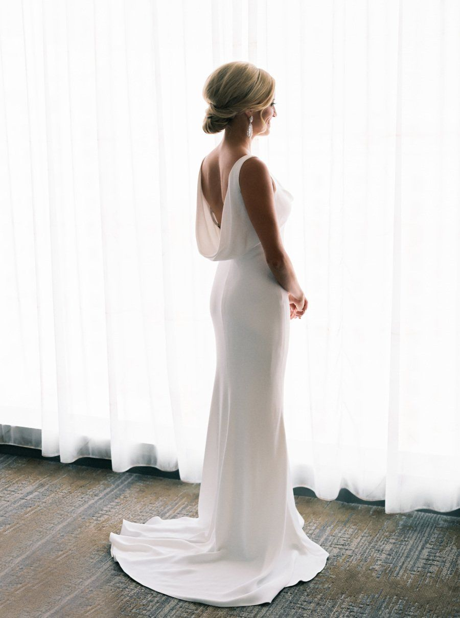 900d429a2785d Simple Elegant Ivory Satin Mermaid Sleeveless Cowl Neckline Wedding Dresses ,BD041