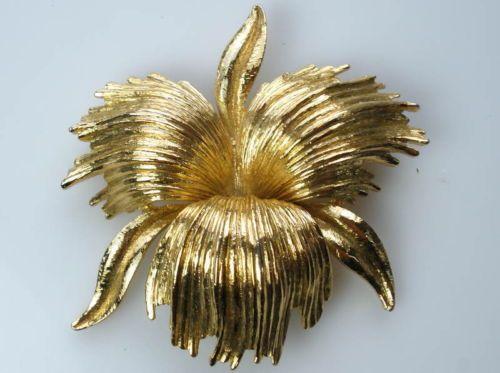 Orchid Flower Goldtone Vintage Brooch - MONET