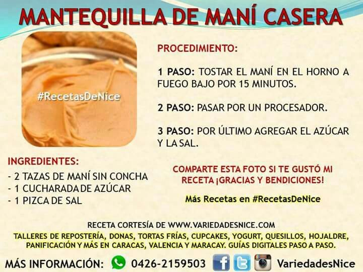 Mantequilla De Maní Amazing Food Hacks Lactose Free Recipes Homemade Recipes