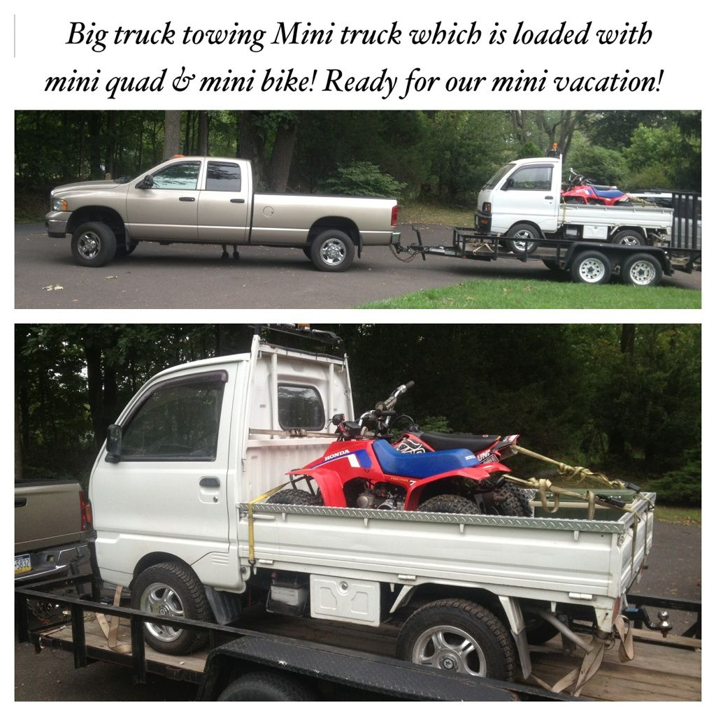 kei class mini truck rigged out for hunting site dealer offers ese mitsubishi mini truck loaded mini quad and mini dirt bike heading mountain camp