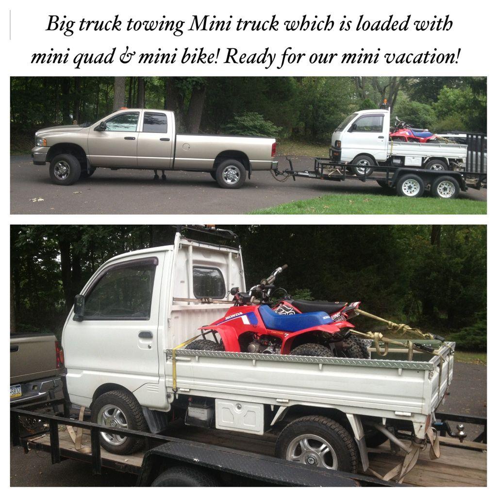 Canter truck sale double cabin 4wd japan import jpn car - Japanese Mitsubishi Mini Truck Loaded With Mini Quad And Mini Dirt Bike Heading Mountain Camp