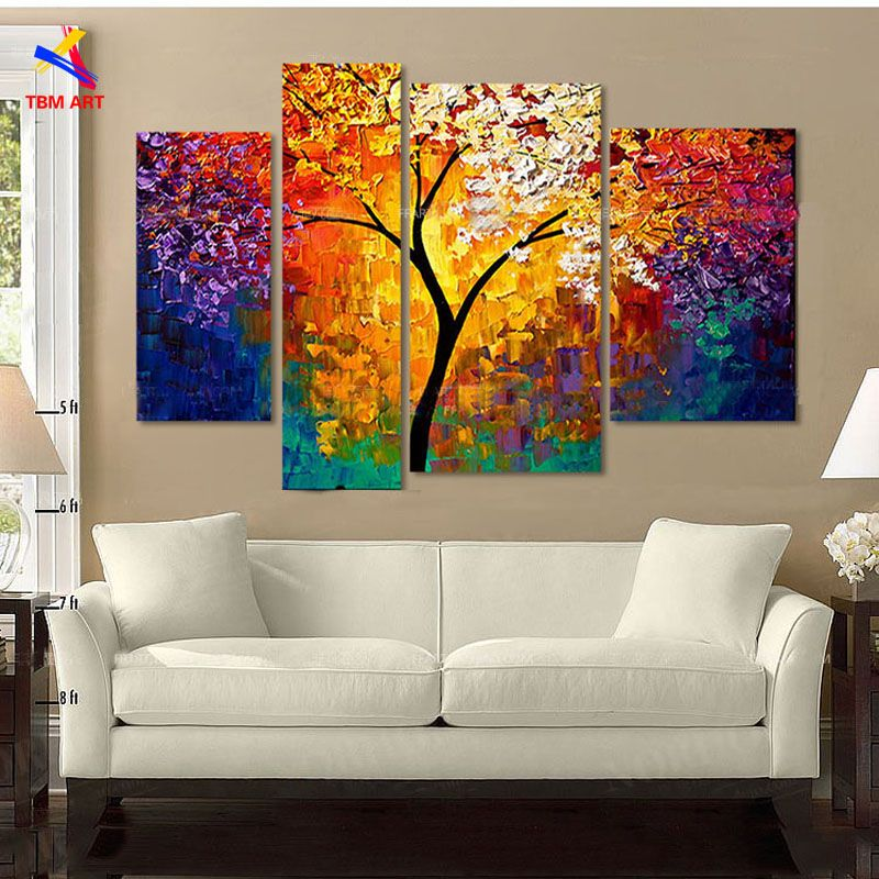 Wall Art Painting large wall art home decor abstract tree painting colorful