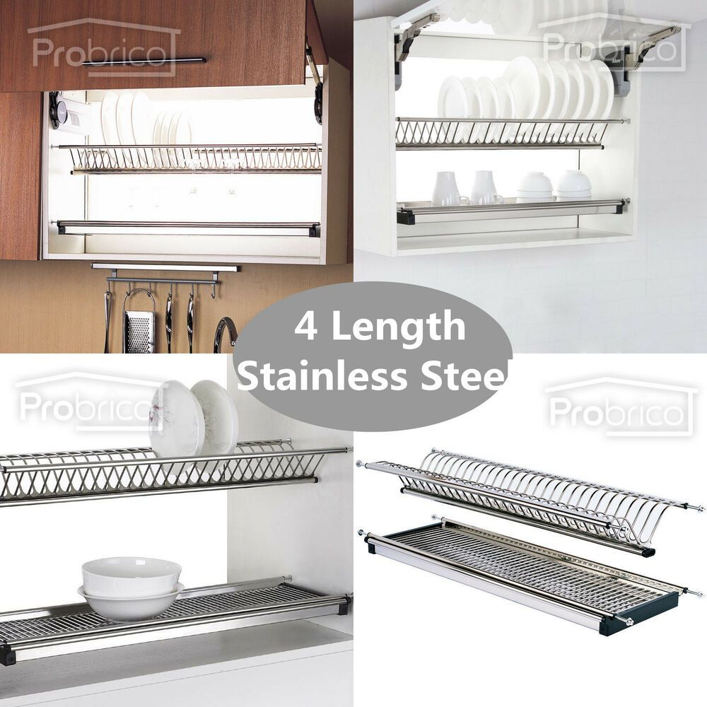 Folding 2 Tier Dish Drying Dryer Racks Drainer Plate For Cabinet Stainless Steel Dish Rack Drying Plate Storage Kitchen Storage