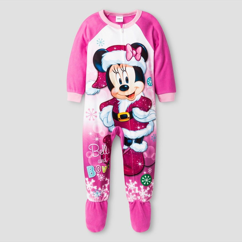 9f3ad9b26c Toddler Girls  Disney Minnie Mouse Long Sleeve One-Piece Footed Sleeper  Pajama Pink