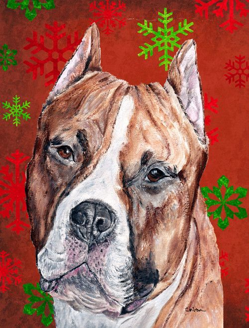 Red And Green Snowflakes Holiday Christmas 2 Sided Garden Flag Stafford Terrier Stafford Bull Terrier Terrier