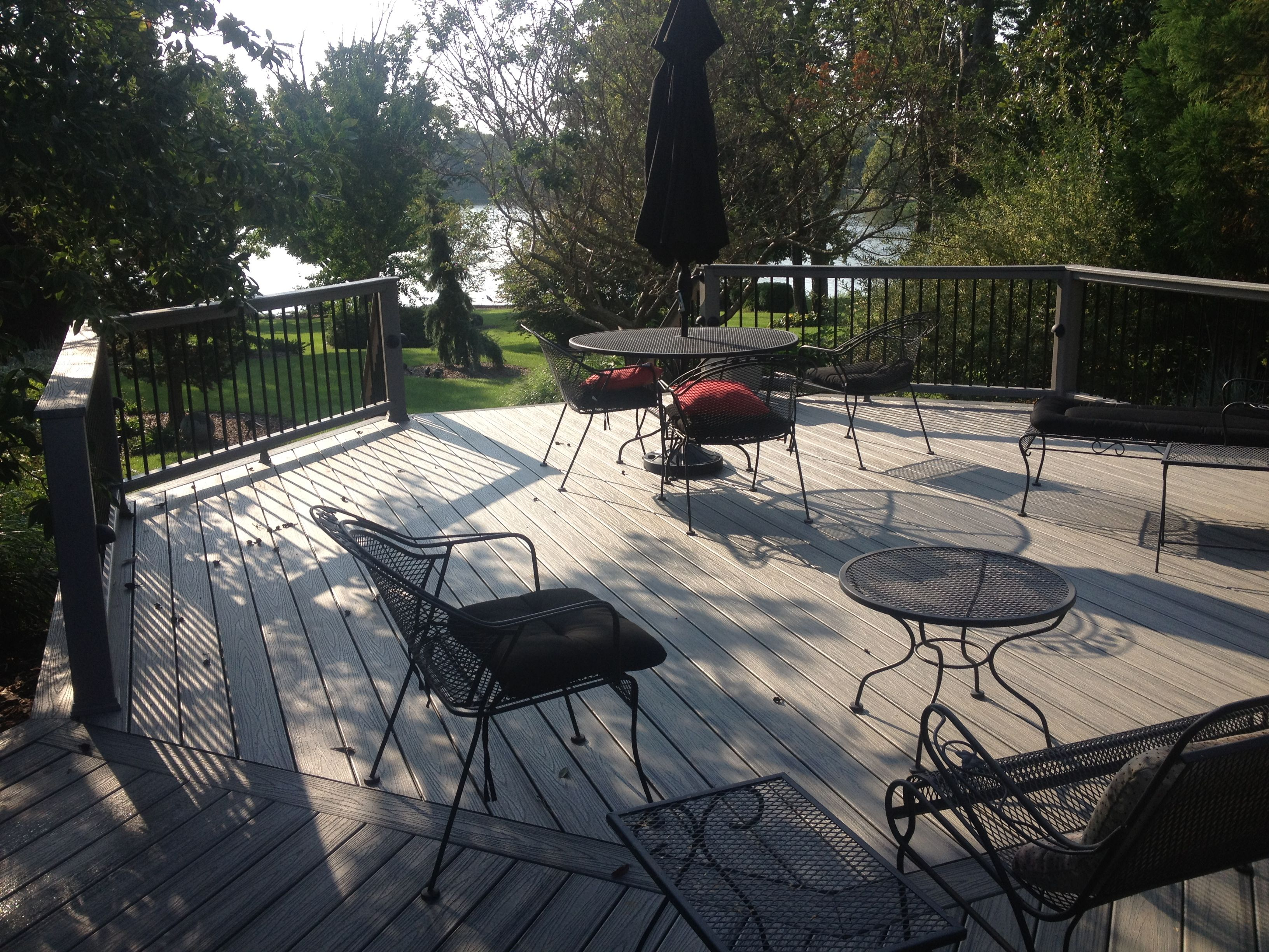Trex island mist back deck trex pinterest decking patios this is a large octagonal deck with island mist the great new tropical finish color baanklon Images