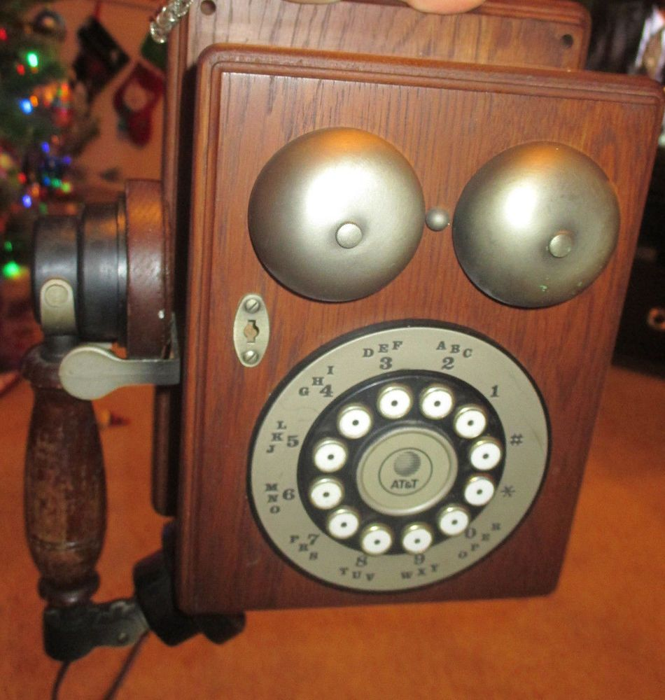 Vintage Reproduction Antique Wood Wall Phone Telephone Rotary Dial