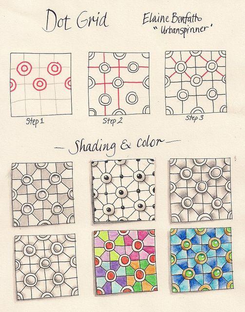 Dot Grid Zentangle Patterns Zentangle Drawings Tangle Art