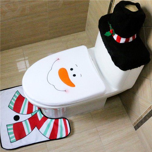 2016 Santa Claus Toilet Seat Cover and Rug Bathroom Set Contour Rug Christmas Decorations for the Home