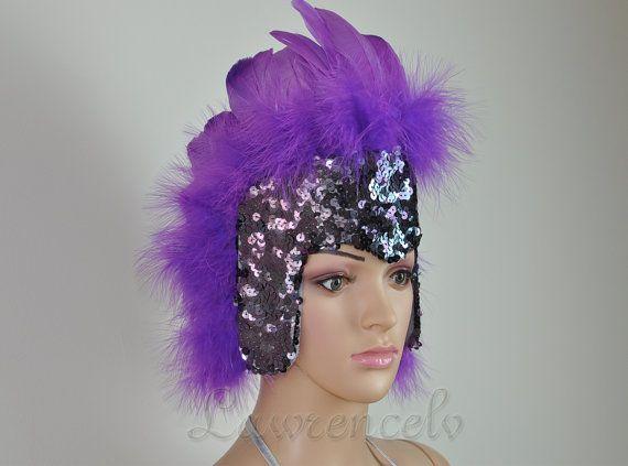 Purple feather sequins crown LasVegas showgirl headpiece headdress