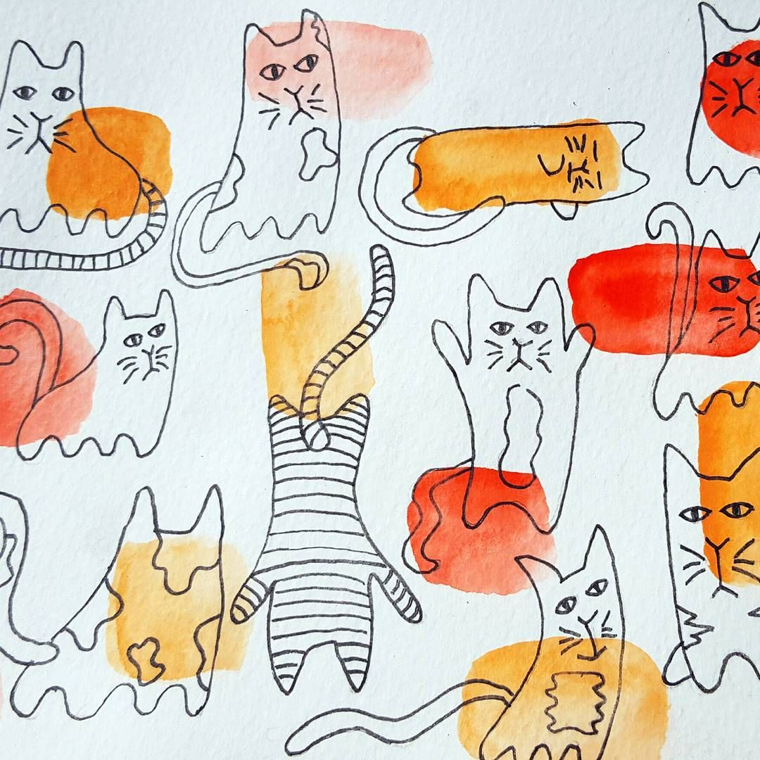 Short break in the sun... cats everywhere... #watercolor #ink #sketchbook #cat…