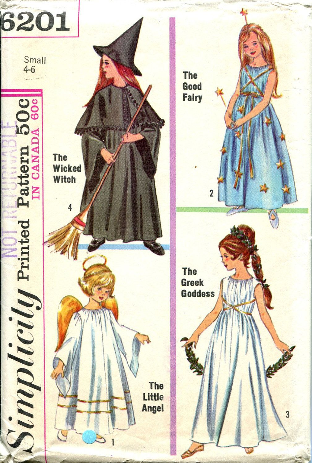 Childrens Costume Sewing Pattern Wicked Witch Greek Goddess Angel ...