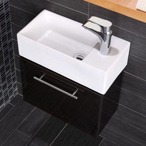 Coco Black Wall Mounted Vanity Unit with Basin 199 Bathroom