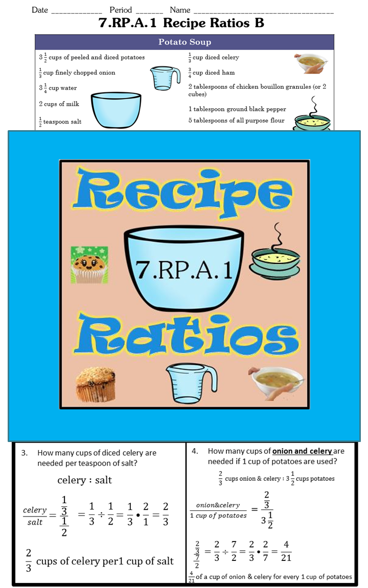 Recipe Ratios 7.RP.A.1 | Maths, Middle school maths and School