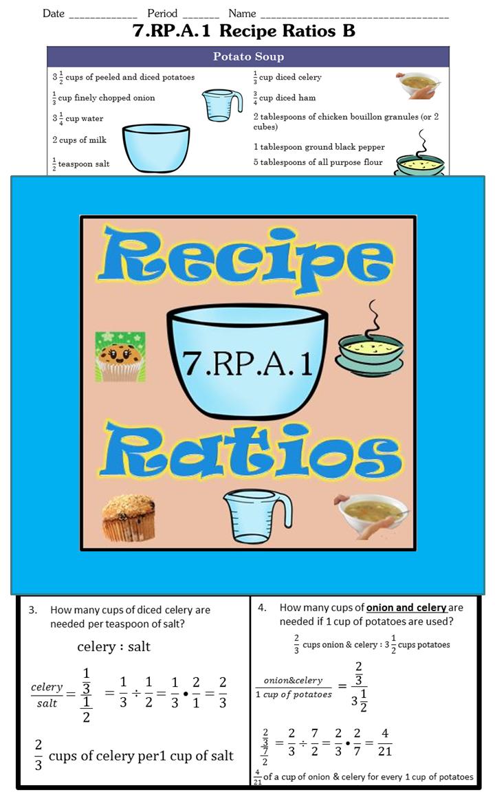 7.RP.A.1 Recipe Ratios: 12 problems.   Recipe ratios [ 1152 x 720 Pixel ]