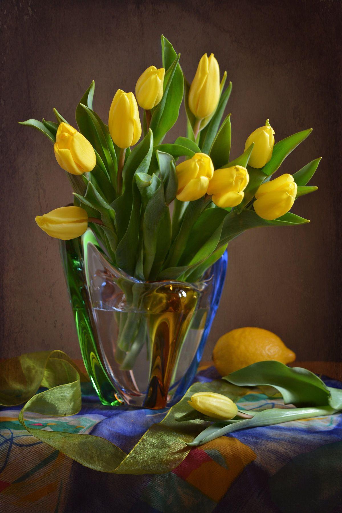 Открытка с желтыми тюльпанами