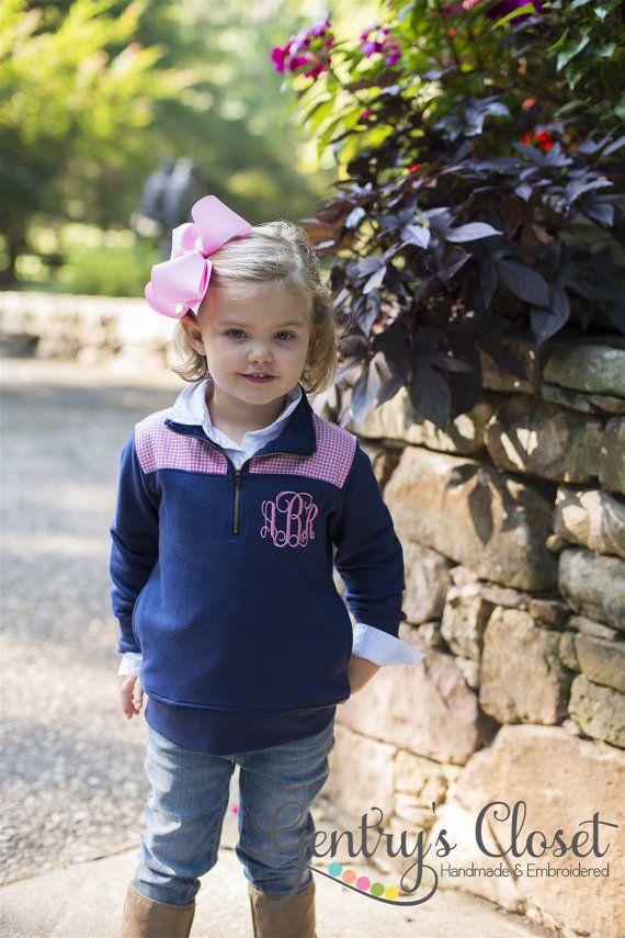 fd165547 Children's Fashion: Adorably Preppy Little Girl's Monogrammed  Sweatshirt/Pullover