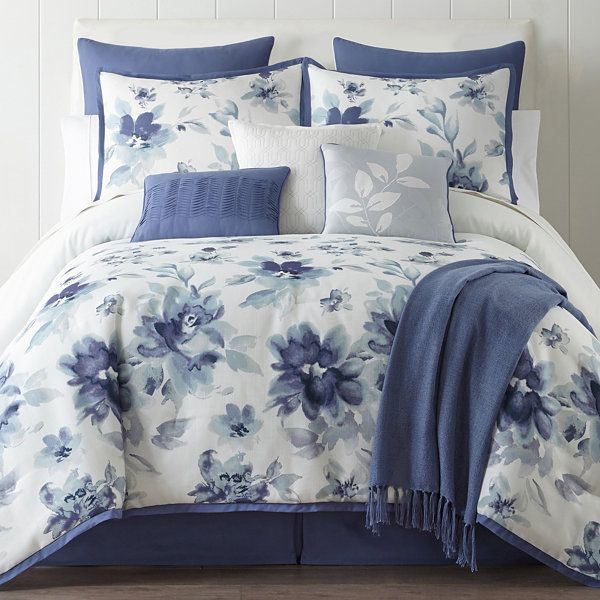 Home Expressions Claire 10 Pc Floral Comforter Set Accessories Jcpenney Comforter Sets Bed Comforter Sets Bedroom Comforter Sets
