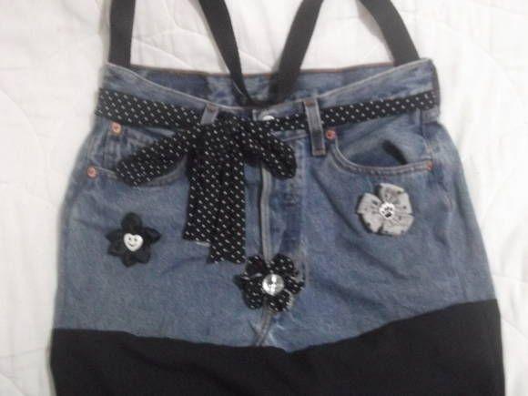 Bolsa Customizada De Calça Jeans Com Fuxicosforro Interno E