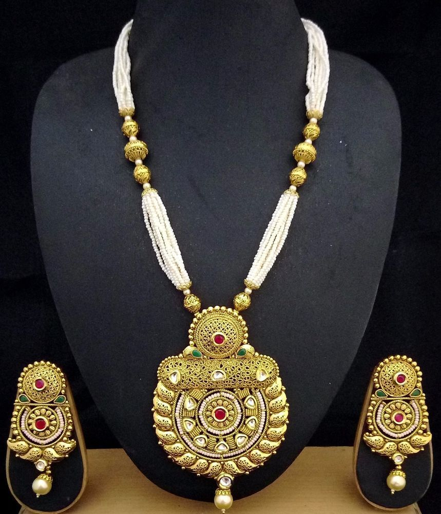 Gm gold plated ruby emerald kundan pearl designer indian necklace