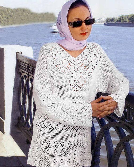 Crochet tunic PATTERN, tutorial in ENGLISH, crochet filet tunic ...