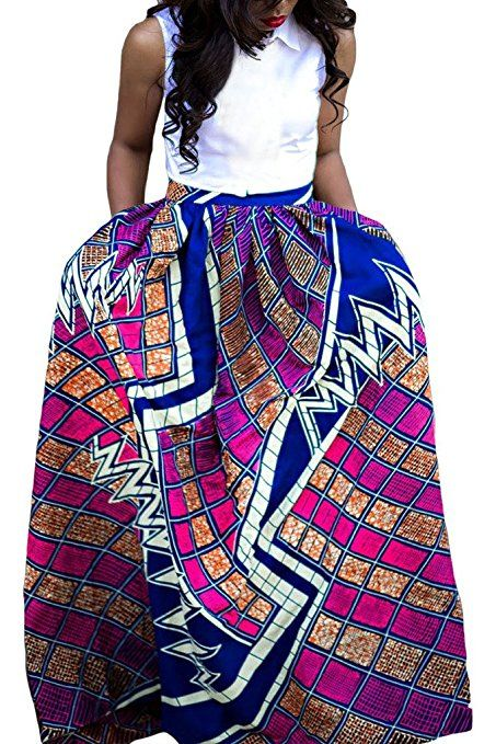 Annflat Women's African Floral Print Maxi Skirts A Line Long ...