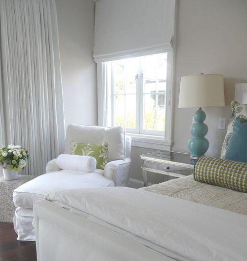 Giannetti Home Interiors Turquoise Blue Gourd Lamp White Roman Shade