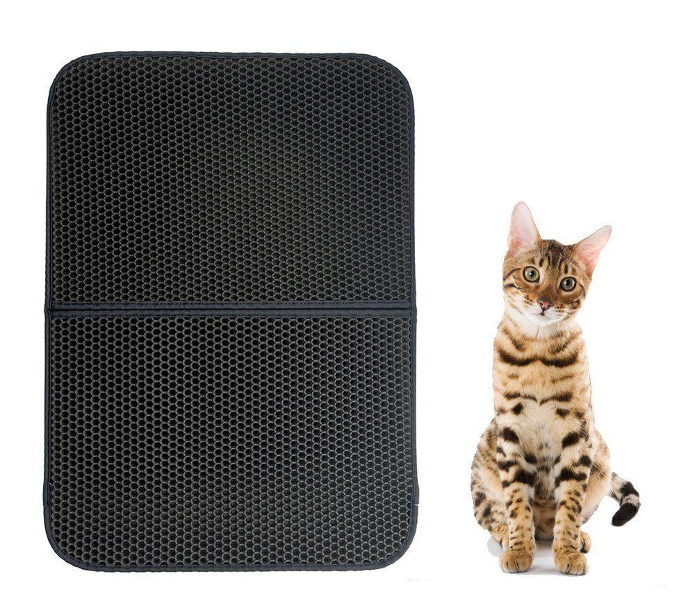 Mcboson 30x22 Inch Black Double Layer Honeycomb Cat Litter Trapper Mat Non Toxic Soft Waterproof Litter Trapping Repel Ur Cat Litter Mat Cat Shedding Cat Fleas