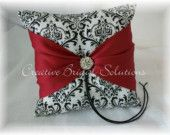 Madison Black and White Damask with Dark Red Wedding Ring Bearer Pillow