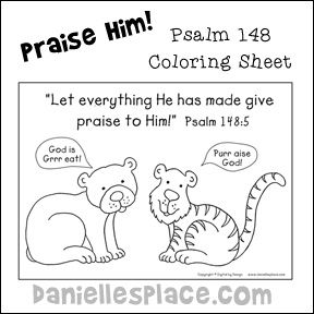 psalm 148 coloring sheet for sunday school lesson from wwwdaniellesplace