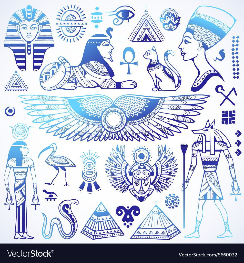 Set of isolated Egypt symbols Royalty Free Vector Image